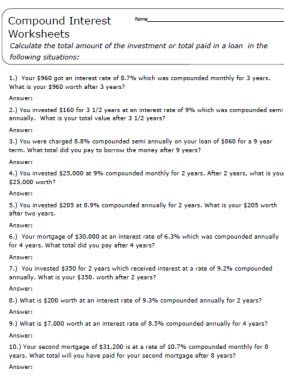 understanding compound interest worksheets and guides