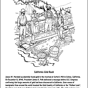 california gold rush coloring page