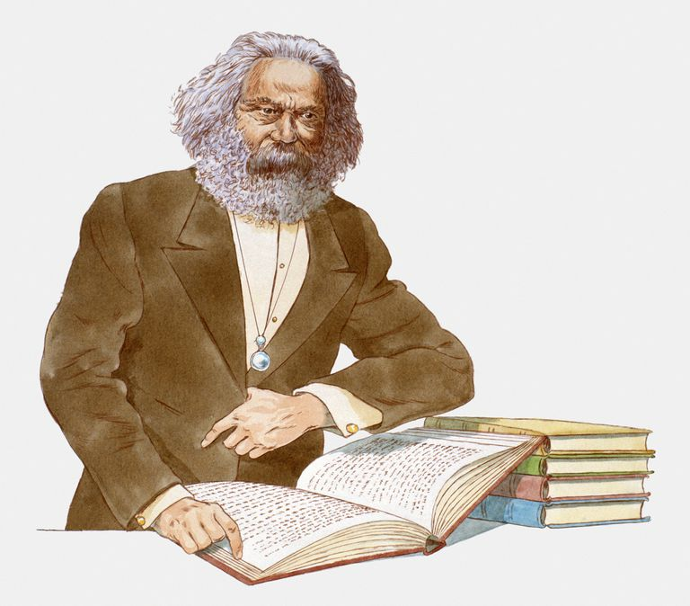 Illustration of Karl Marx With Open Book