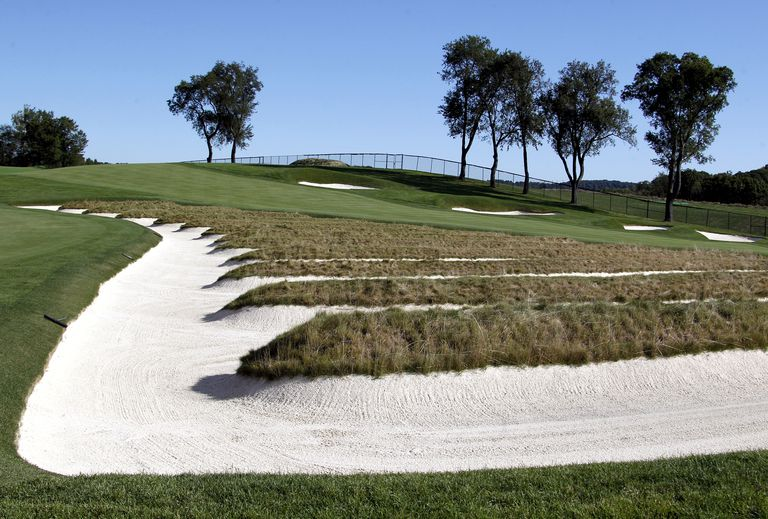 A view of the Church Pew bunker at Oakmont Country Club