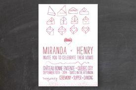 School themed wedding invitations - folded notes wedding invitations