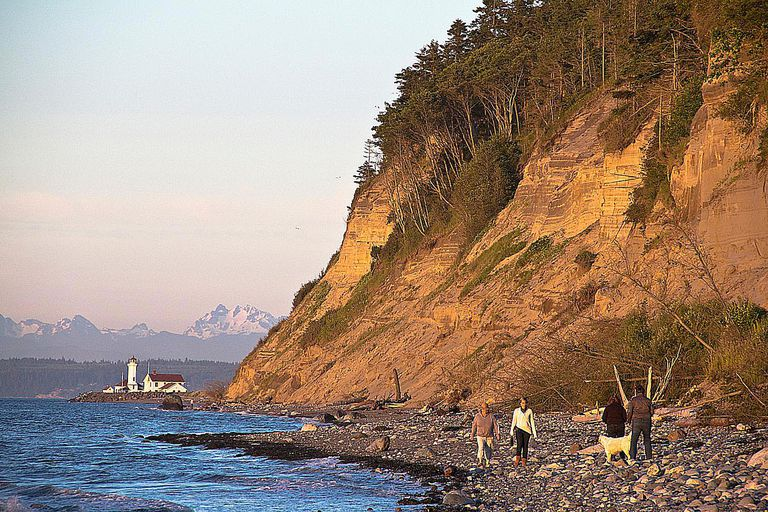 Beachgoers walk the shore in Port Townsend, WA, where there is 16 hours of daylight on the longest day