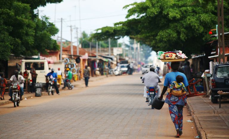People on a busy street in Benin Africa