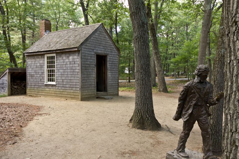 Memorial with a replica of Thoreau's cabin near Walden