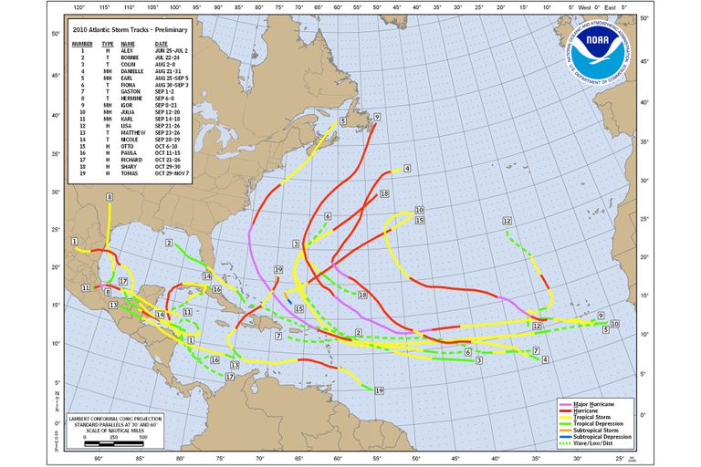 Tropical cyclone tracks of the 2010 Atlantic Hurricane Season.