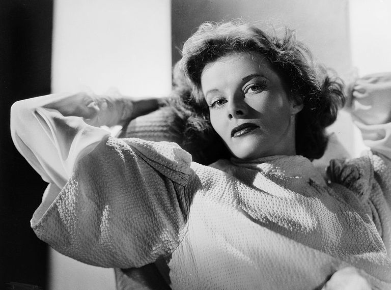 black and white portrait of Katharine Hepburn