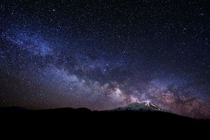 The Milky Way rising from Mount Shasta