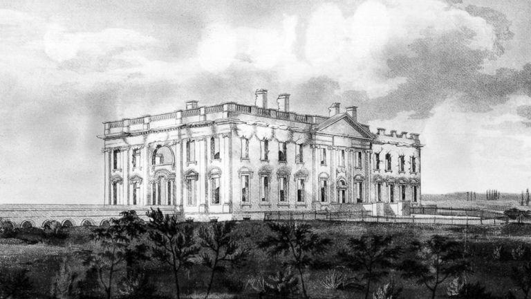 illustration of white house burning