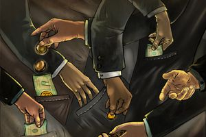 Illustrative image of business people exchanging money representing fraud
