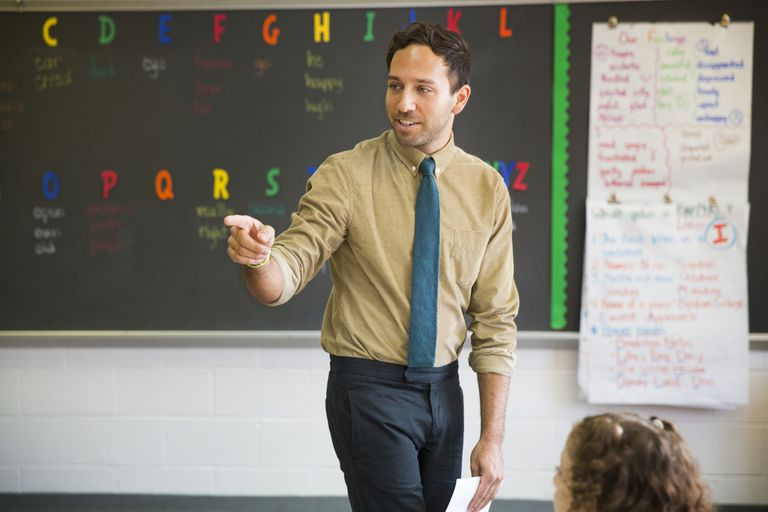 Male teacher pointing while teaching in elementary classroom