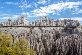 The grand karst limestone formation in Tsingy de Bemaraha Strict Nature Reserve near the western coast of Madagascar