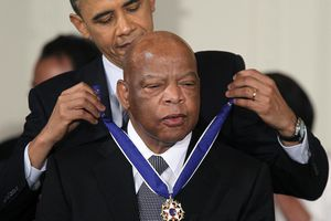 John Lewis receives the 2010 Medal of Freedom from President Barack Obama.