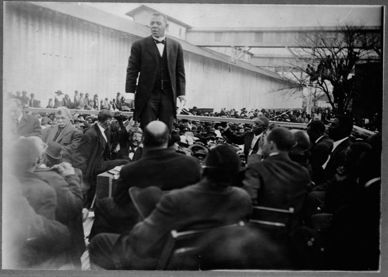 Booker T. Washington Giving a Speech