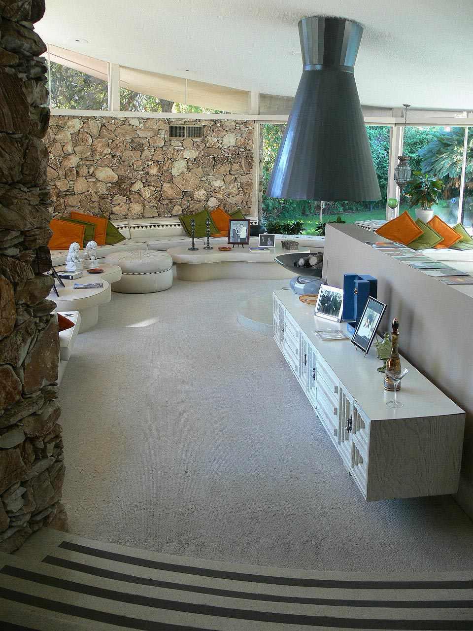 Living area at the Elvis Honeymoon Hideaway in Palm Springs, California