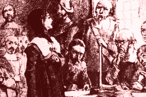 Anne Hutchinson on Trial - Artist Conception