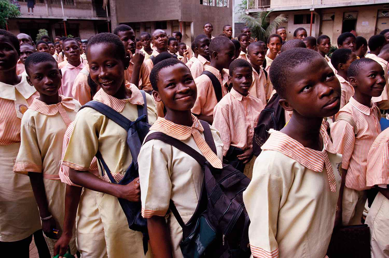 Nigerian Schoolgirls Before Class