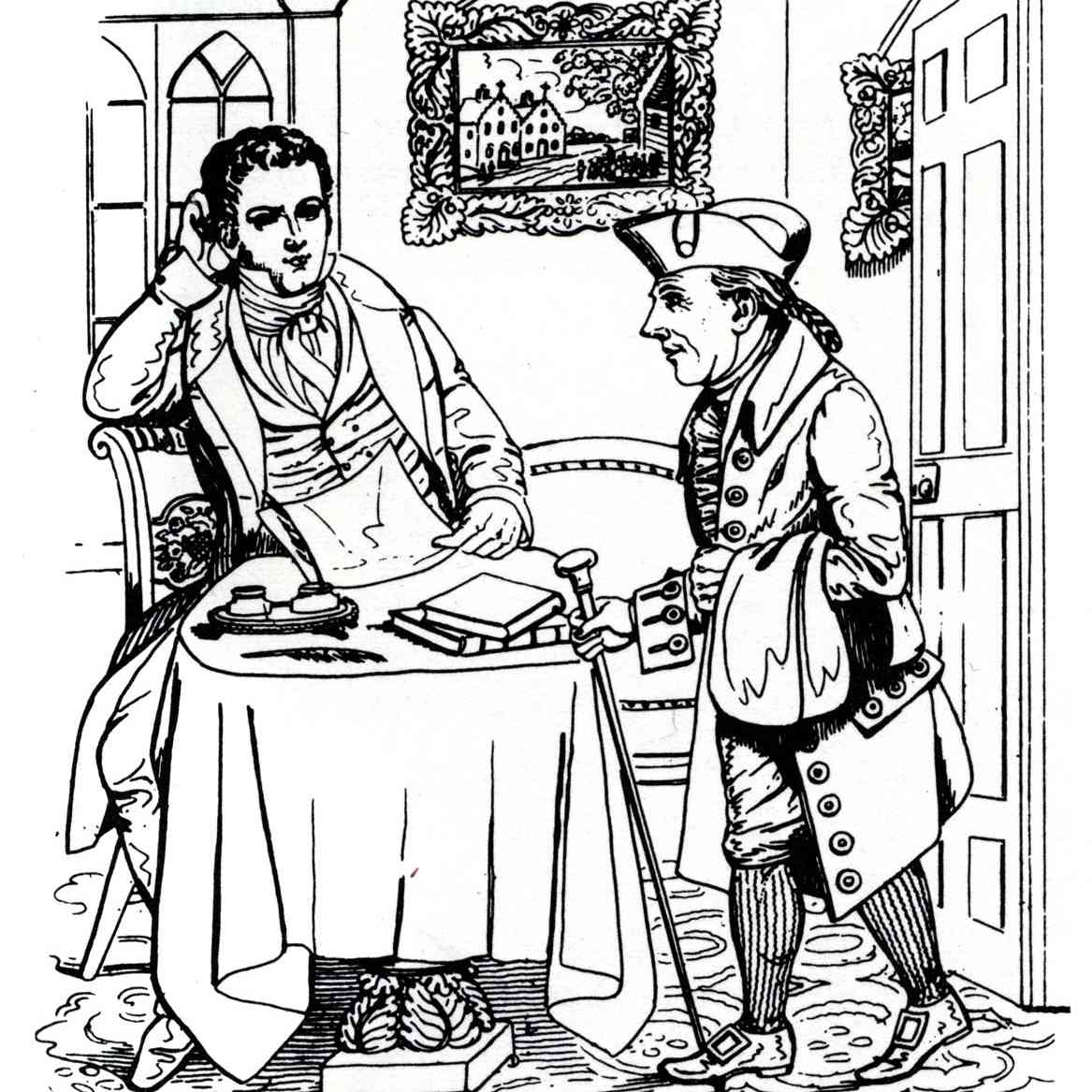 "Diedrich Knickerbocker (rechts) ist Washington Irvings Erzähler in ""A History of New York""."