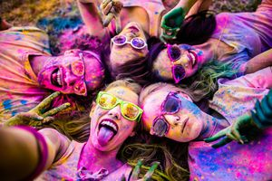 Festival Goers Covered in Colorful Powder