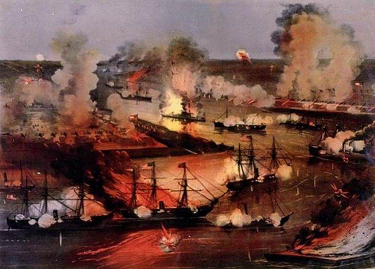 Farragut's fleet approaching New Orleans, 1862