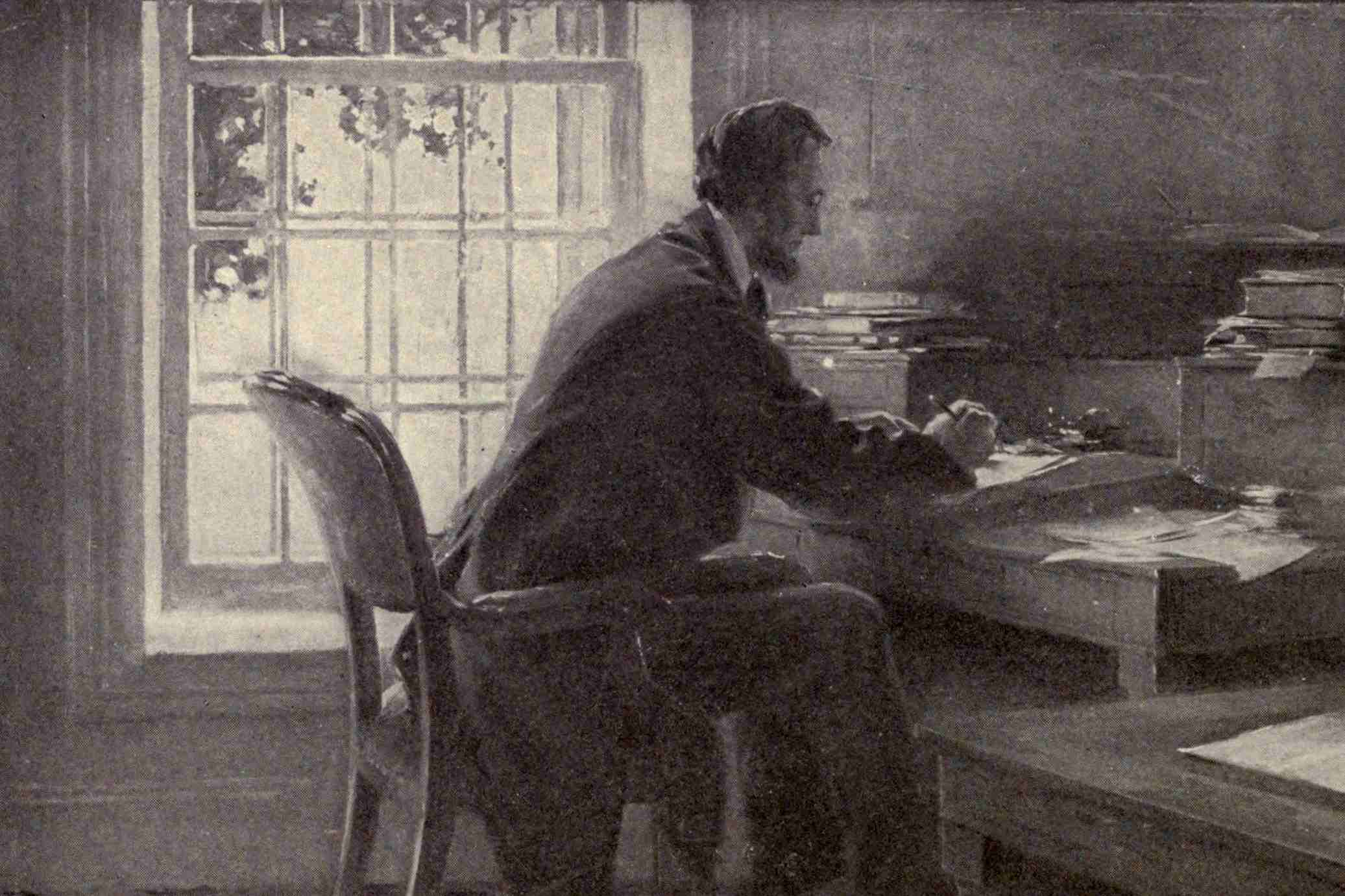 Artist's depiction of Lincoln in the War Department