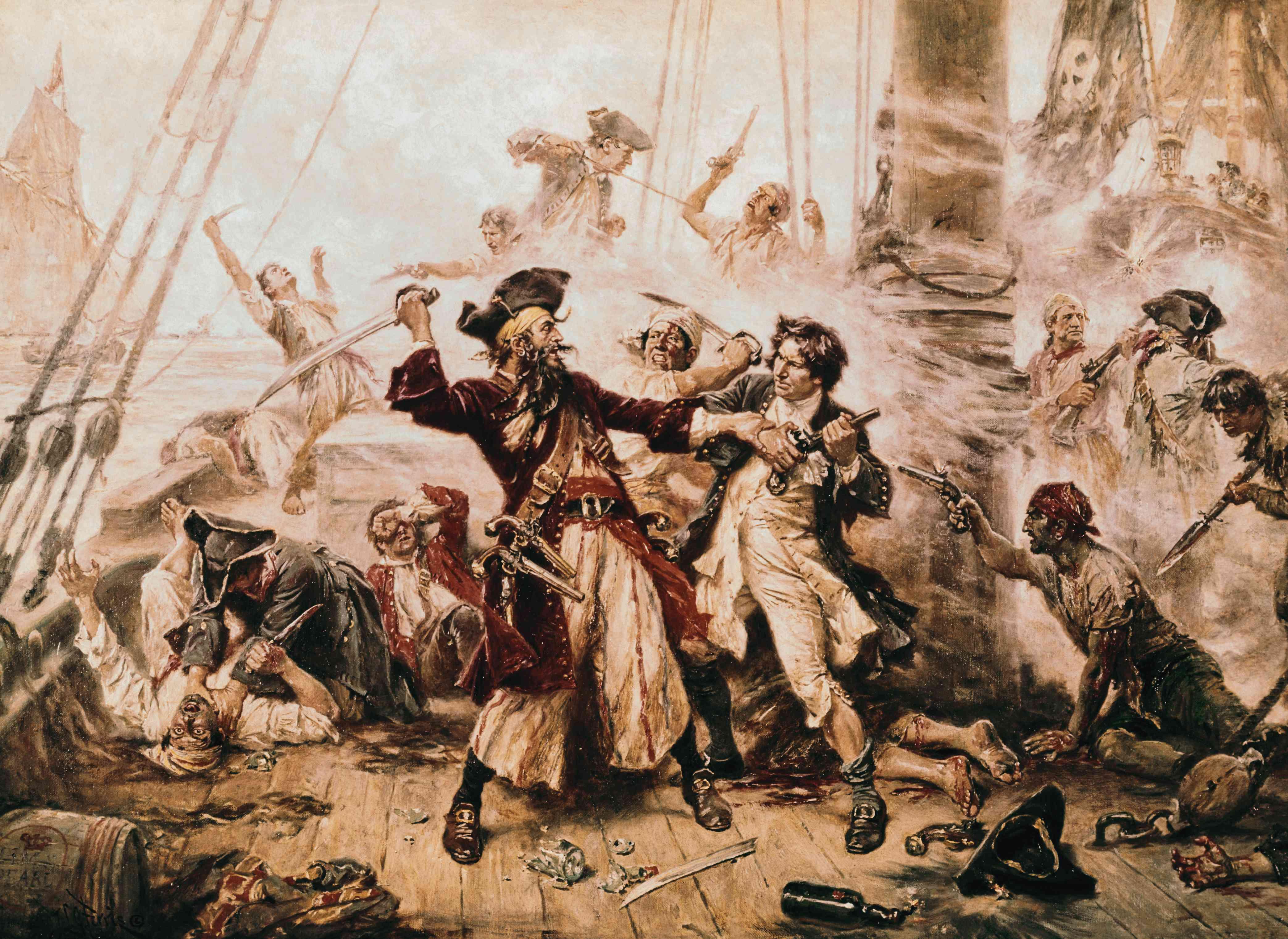 The Capture of the Pirate, Blackbeard, 1718 by Jean Leon Gerome Ferris