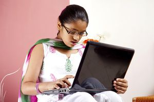 Student using a computer