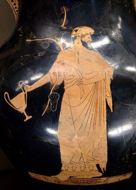Dionysus holding a cup. Red-figure Amphora, by the Berlin Painter, c. 490-480 B.C.
