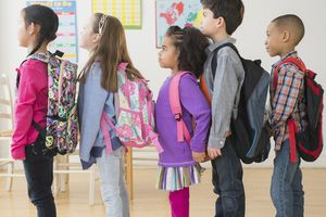 Children in class with school backpacks