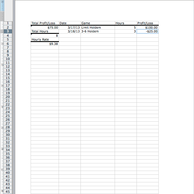 Creating A Simple Poker Results Tracking Spreadsheet