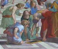 """Euclid, detail from """"The School of Athens"""" painting by Raphael."""