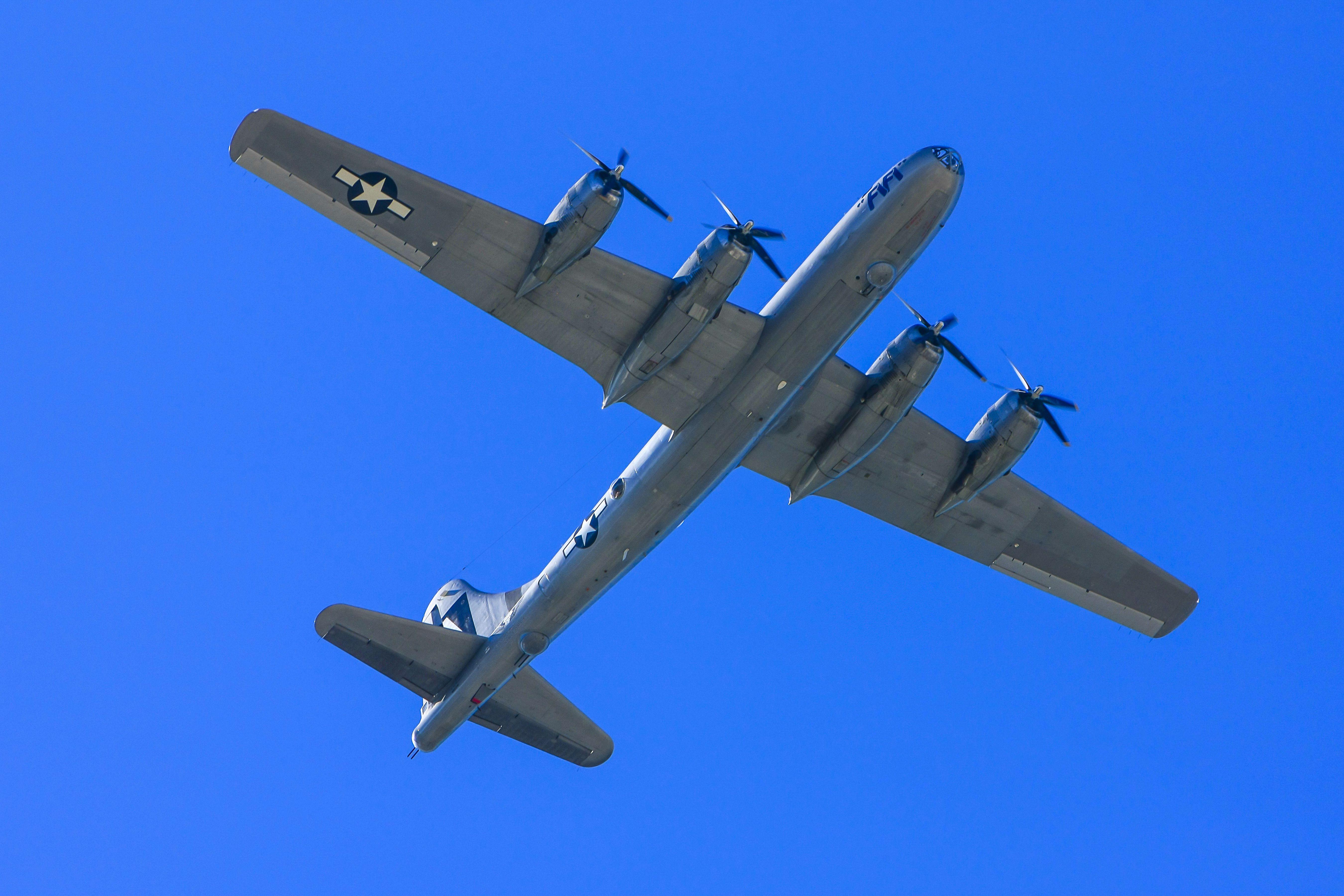 WWII Boeing B29 plane in flight.