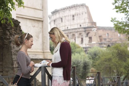 Two women reading in Italy