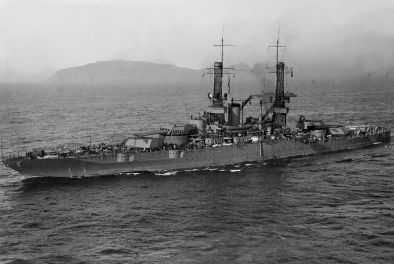 Black and white photograph of the USS New Mexico on the water.