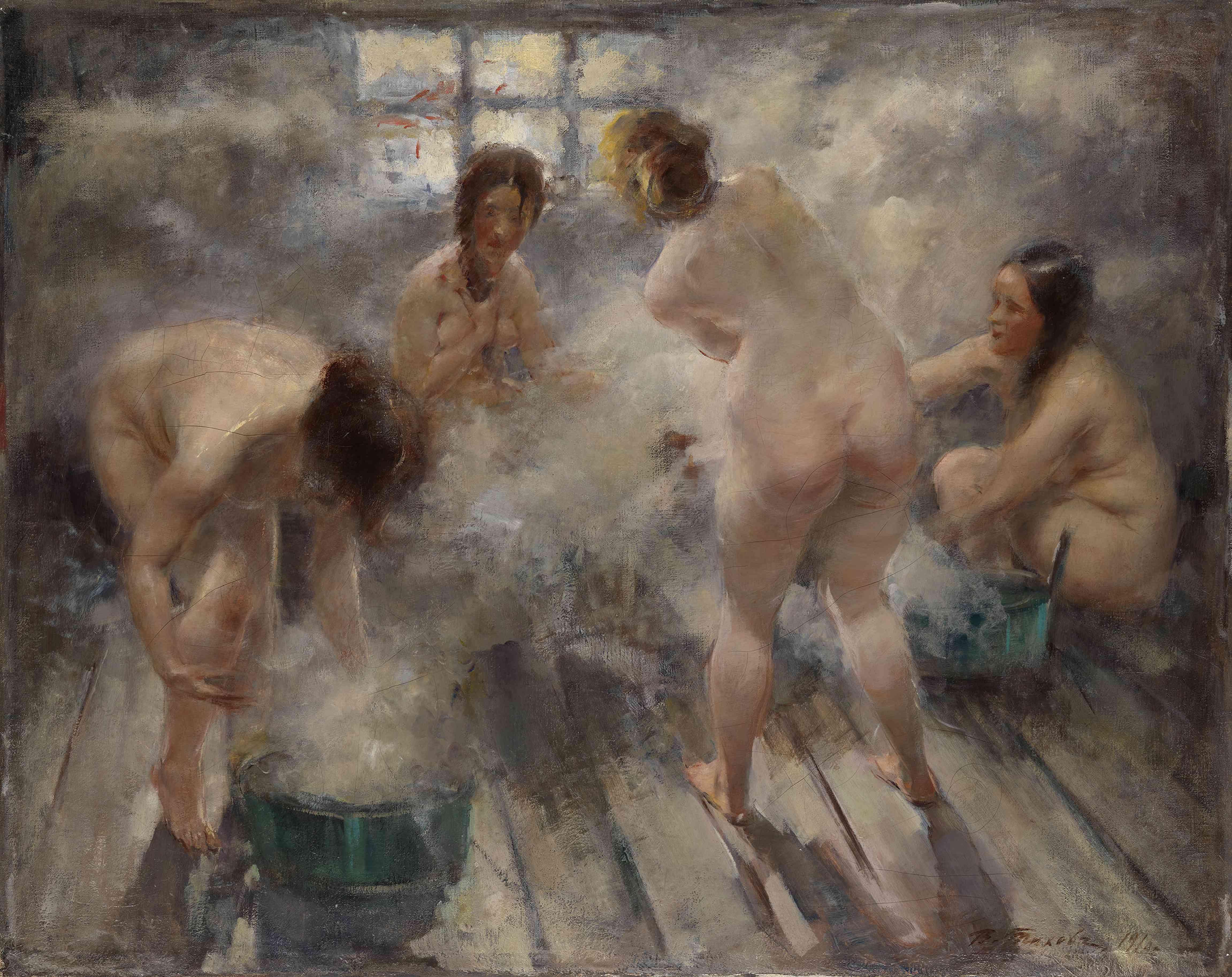 In a Russian Banya, 1916. Artist: Tikhov, Vitali Gavrilovich