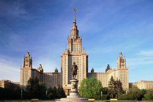 Russia,Moscow, Lomonosov University statue of Lomonosov in foreground