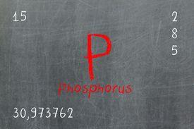 Isolated blackboard with periodic table, Phosphorus