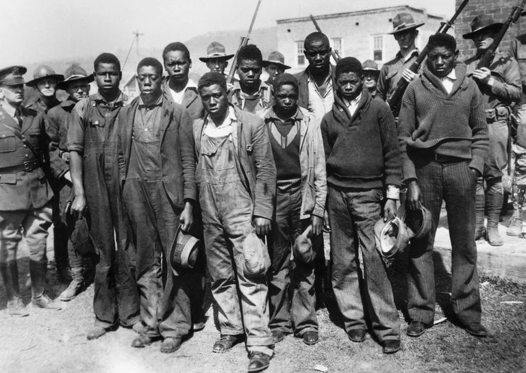 Scottsboro Boys. From left to right, the accused are: Clarence Norris, Olen Montgomery, Andy Wright, Willie Roberson, Ozie Powell, Eugene Williams, Charlie Weems, Roy Wright, and Haywood Patterson.