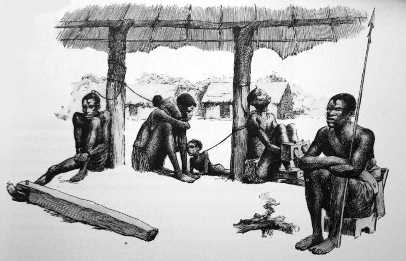 A Barracoon holding enslaved African people.