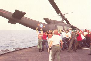 Clearing the deck during Operation Frequent Wind, color photograph, 1975.