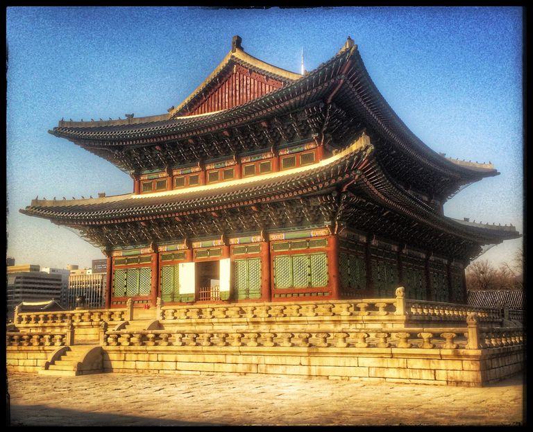 Exterior Of Gyeongbokgung Against Clear Sky