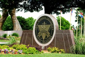 Oral Roberts University school sign on a sunny day.