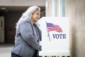 Senior Mexican Woman Voting