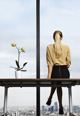 Business woman sitting on desk.