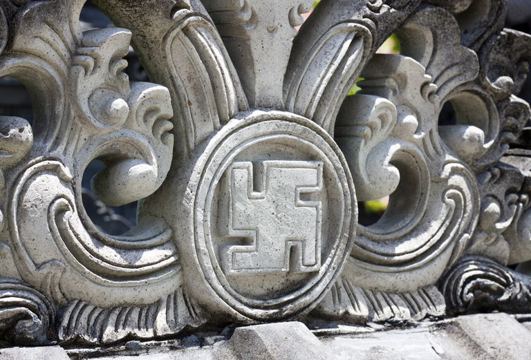 Swastika symbol at a hindu temple