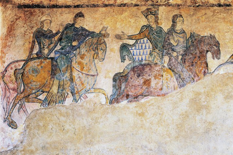 Eleanor of Aquitaine, Isabella of Angouleme and two squires riding on horseback