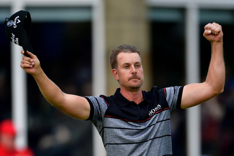 Henrik Stenson of Sweden celebrates victory after the winning putt on the 18th green during the final round on day four of the 2016 Open Championship