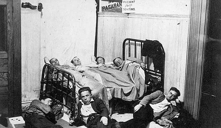 Men Crowded Into a Room to Sleep During the Great Depression