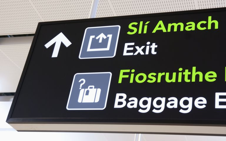 Irish English sign in an airport