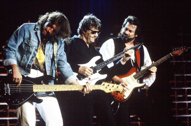 An early-'90s lineup of the Steve Miller Band performs live in California.