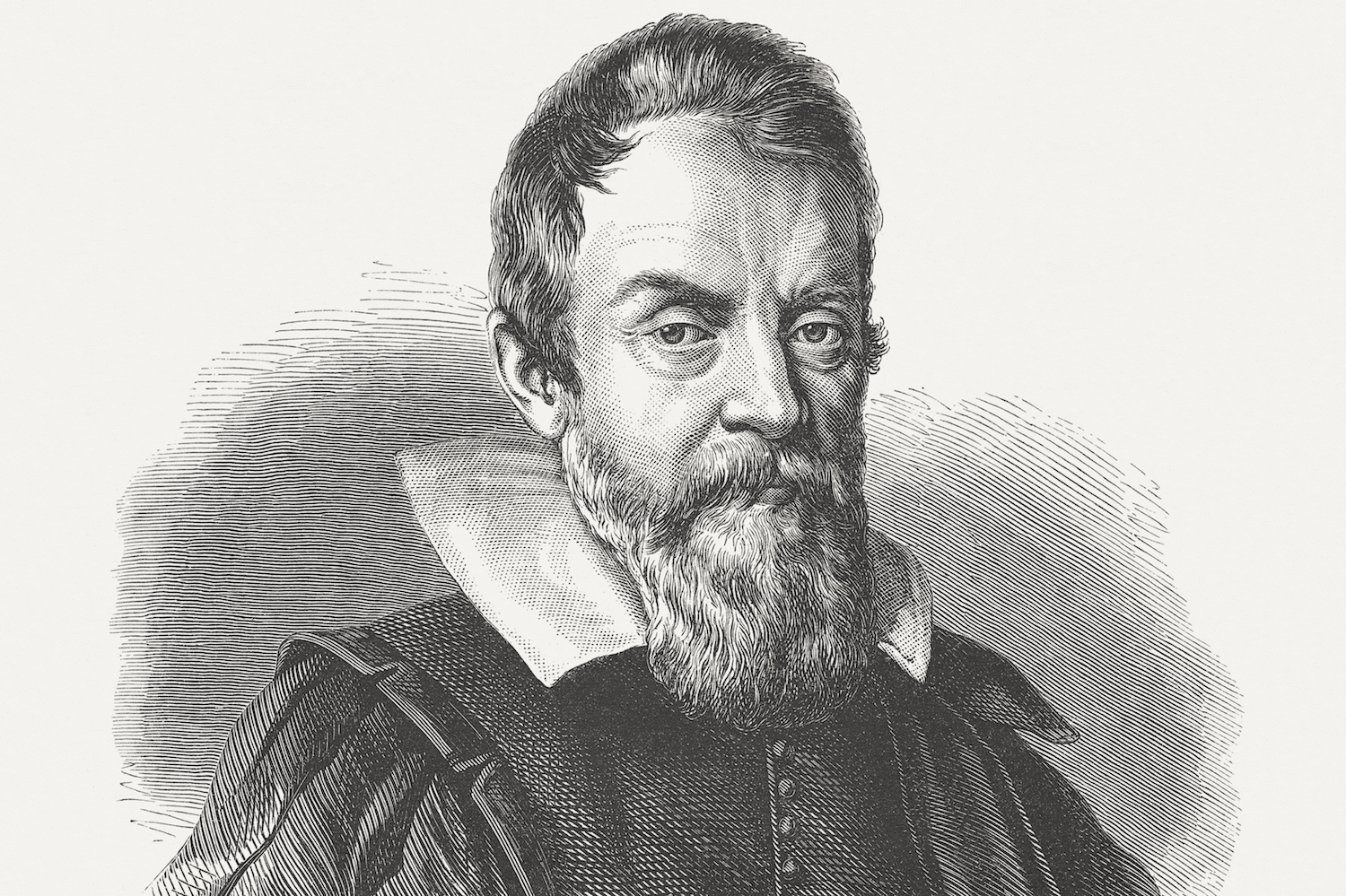 Galileo Galilei (1564-1642), wood engraving, published in 1864